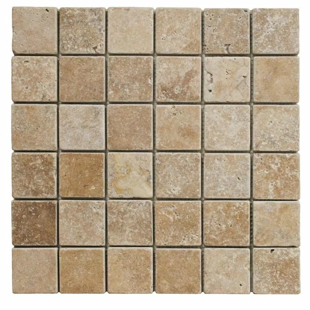 noce travertine 2x2 tumbled mosaic tile