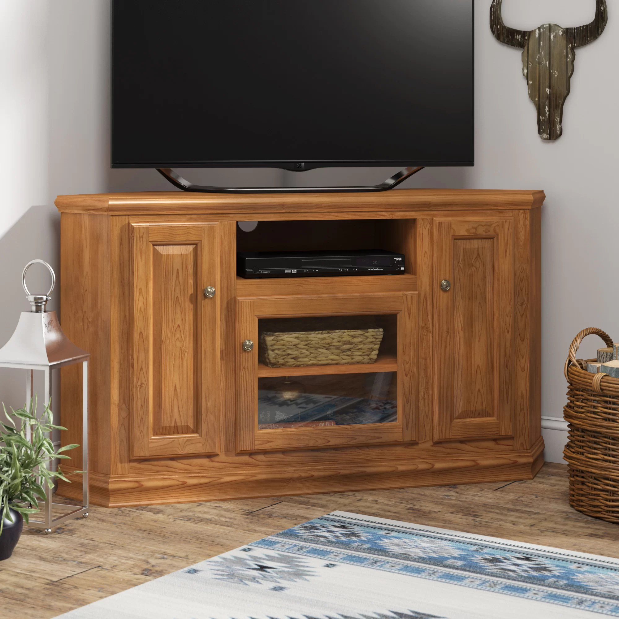 Loon Peak Lapierre Solid Wood Corner Tv Stand For Tvs Up To 70 Reviews Wayfair