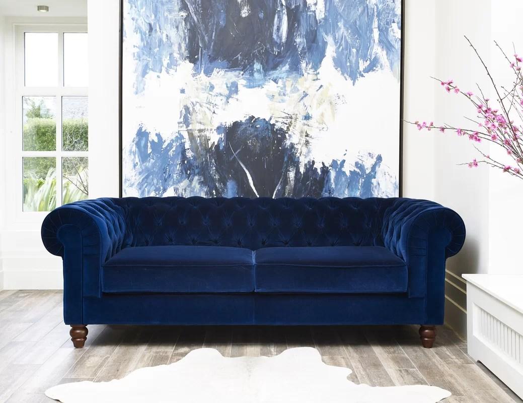 blue velvet chesterfield sofa lena dunham hand crafted