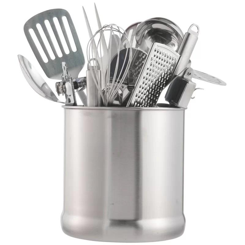 kitchen tool holder gray floor vonshef 7 stainless steel utensil reviews wayfair