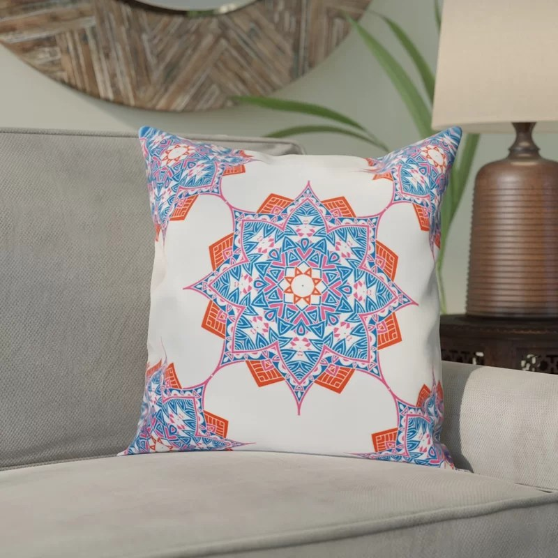 Meetinghouse Rhapsody Outdoor Throw Pillow Size: 18 H x 18 W Color: Blue