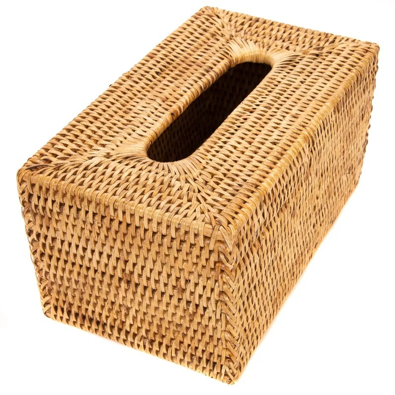 Rattan Long Tissue Box Cover Color: Brown