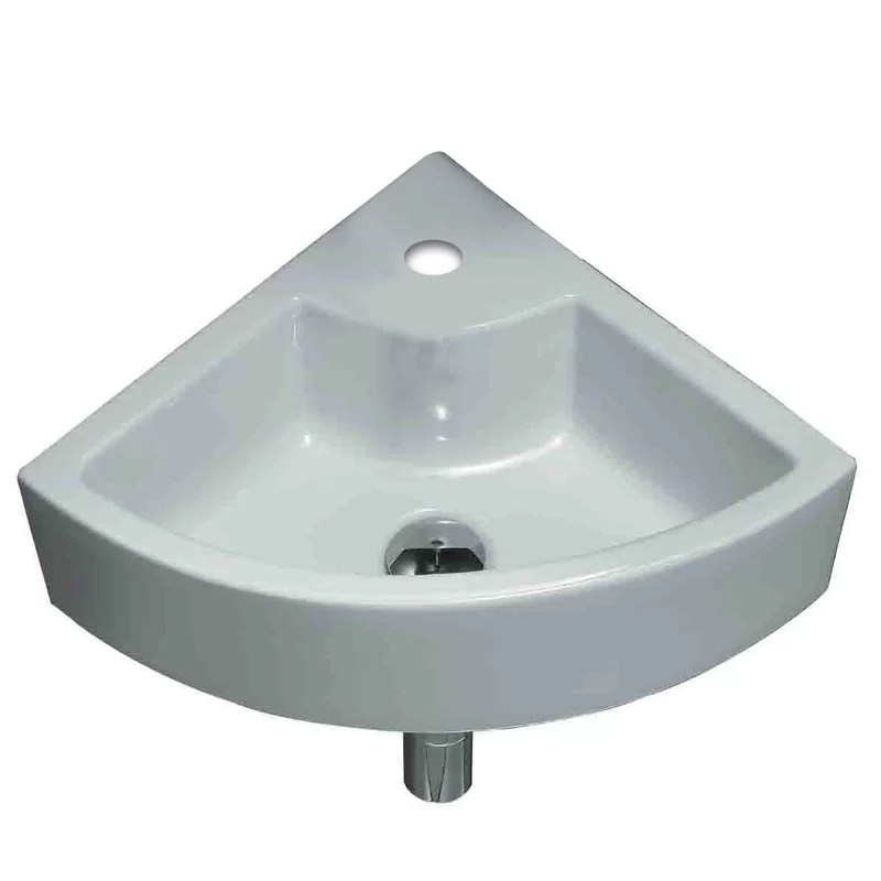 Unique Ceramic Specialty Wall-Mount Bathroom Sink with Faucet and Overflow