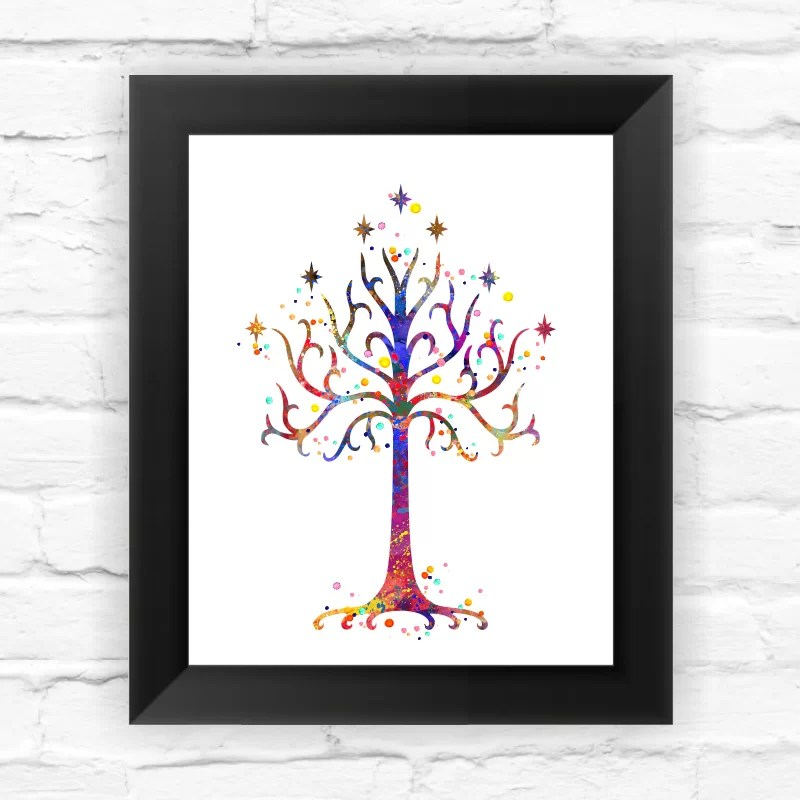 White Tree of Gondor 2 Lotr Contemporary Watercolor Framed Graphic Art Size: 11.5 H x 9.5 W x 0.75 D