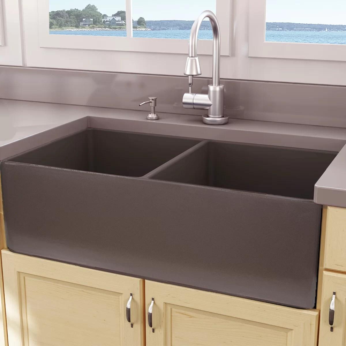 Nantucket Sinks Cape 33 L X 18 W Double Basin Farmhouse Apron Kitchen Sink Reviews Wayfair