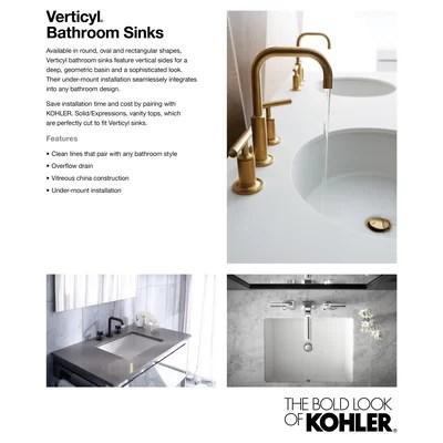 verticyl ceramic rectangular undermount bathroom sink with overflow