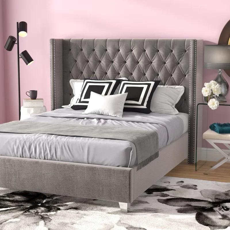 jennie solid wood tufted upholstered low profile platform bed