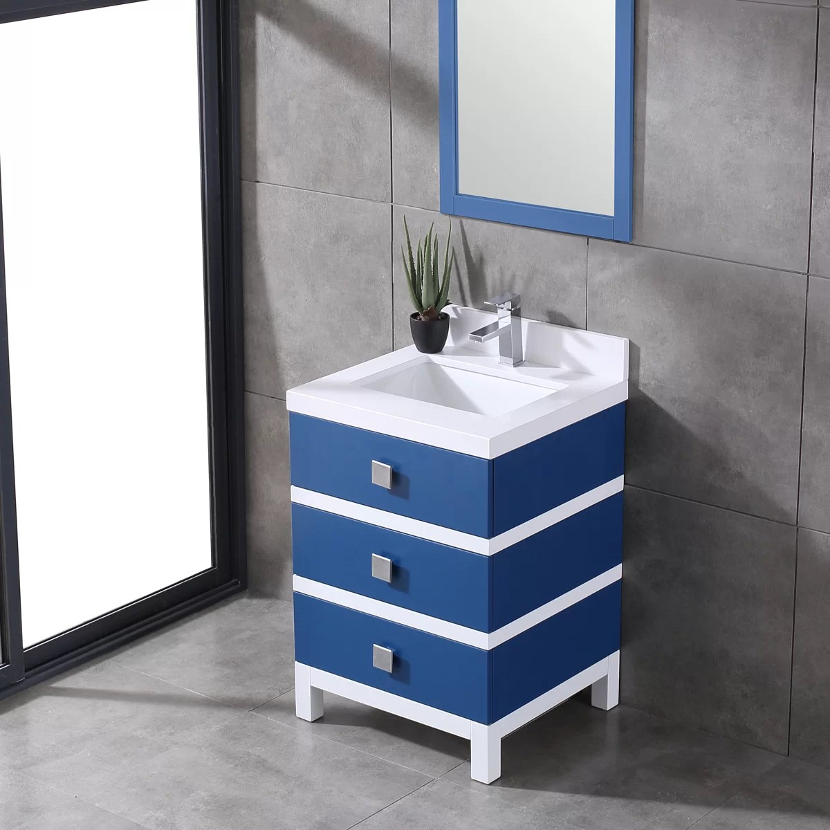 Eviva Sydney 24 Inch Blue And White Bathroom Vanity Wayfair