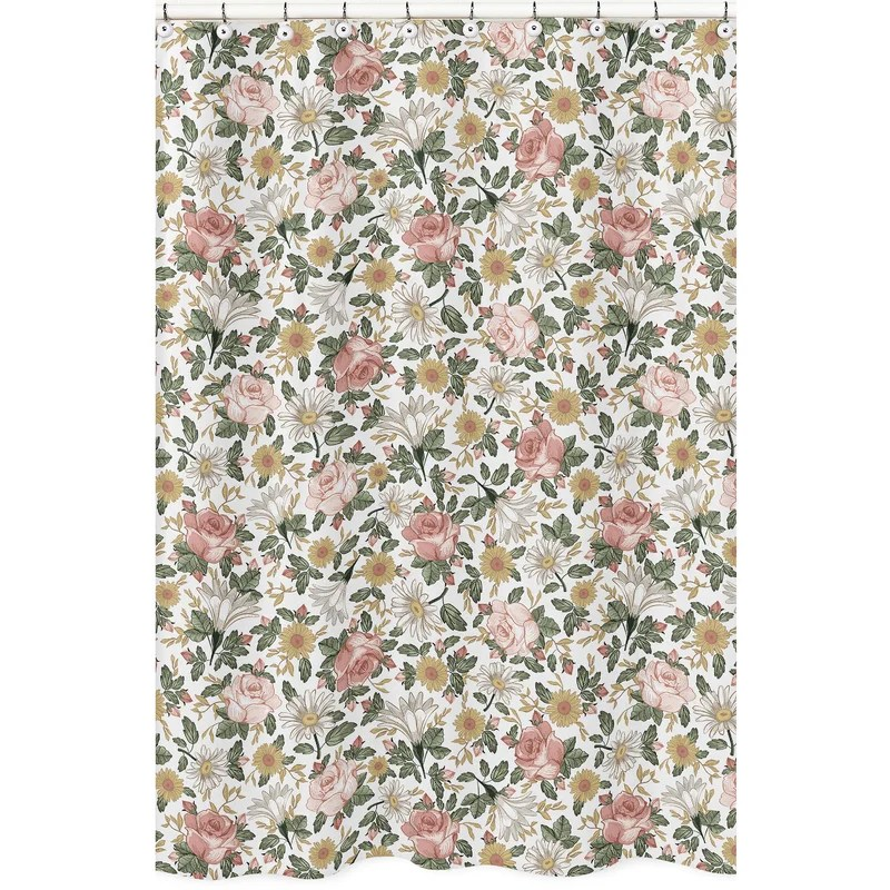vintage floral single shower curtain