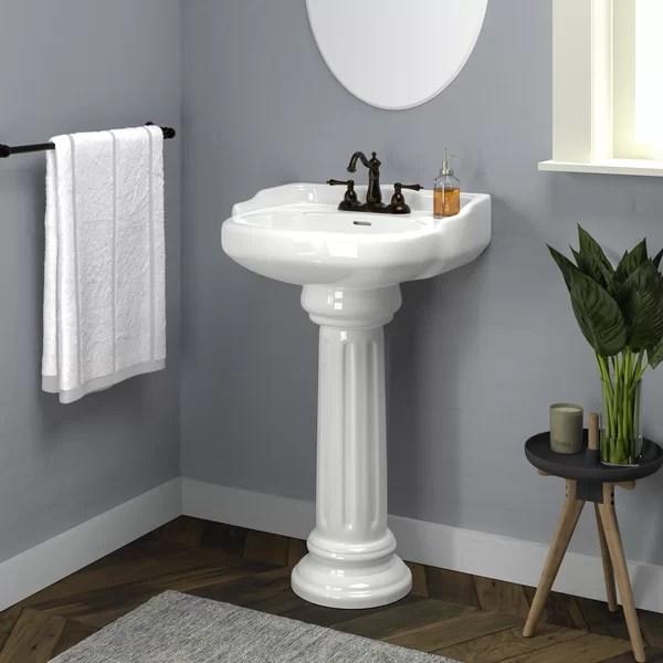 pedestal sink with backsplash