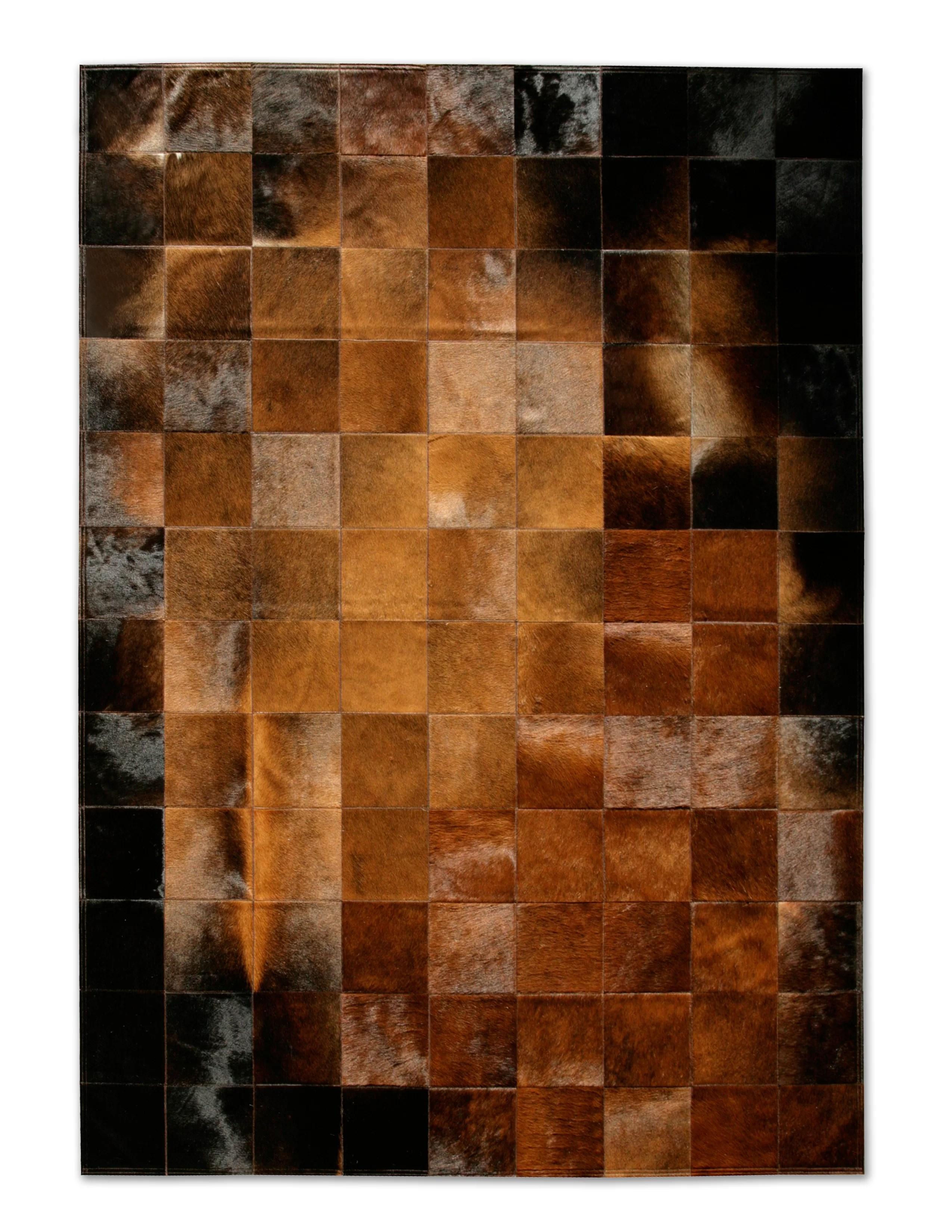 patchwork handmade cowhide brown black area rug