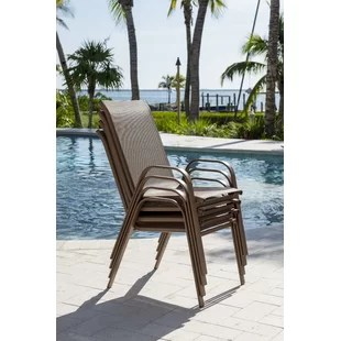 sling chair outdoor wedding covers chelmsford patio dining chairs you ll love wayfair cafe stacking set of 4