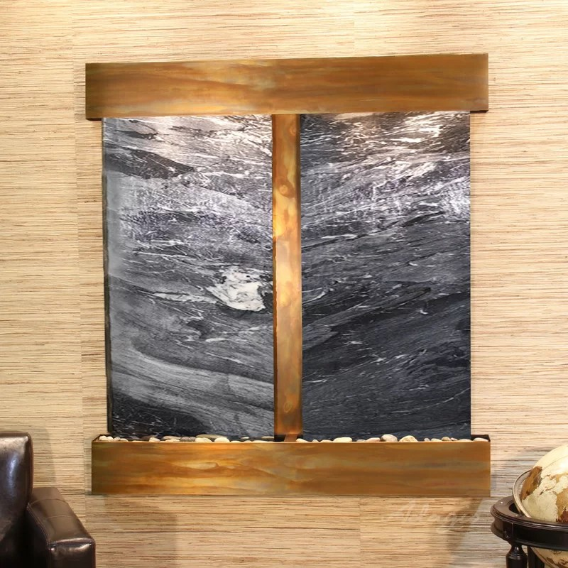 Aspen Falls Natural Stone/Metal Wall Fountain with Light Finish: Rustic Copper Stone: Black Spider Marble