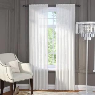 janell solid sheer rod pocket curtain panels set of 2