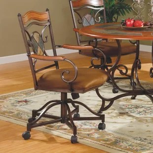 caster dining chairs ergonomic chair drawing sets with wayfair culbert swivel upholstered set of 2