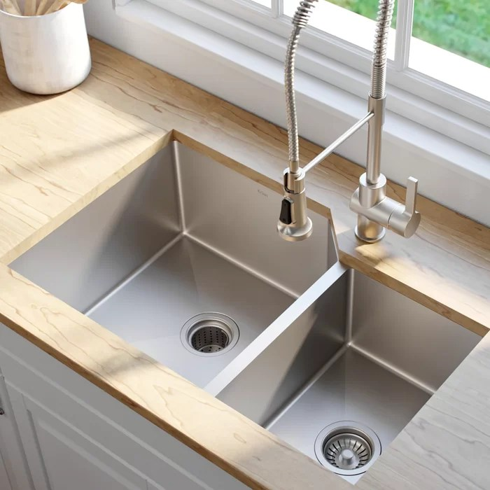 kraus kitchen sinks organization products 32 l x 20 w double basin undermount sink reviews wayfair ca