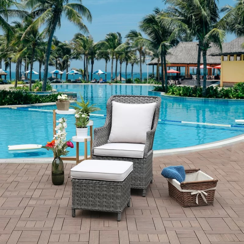 jarod patio chair and ottoman with cushions