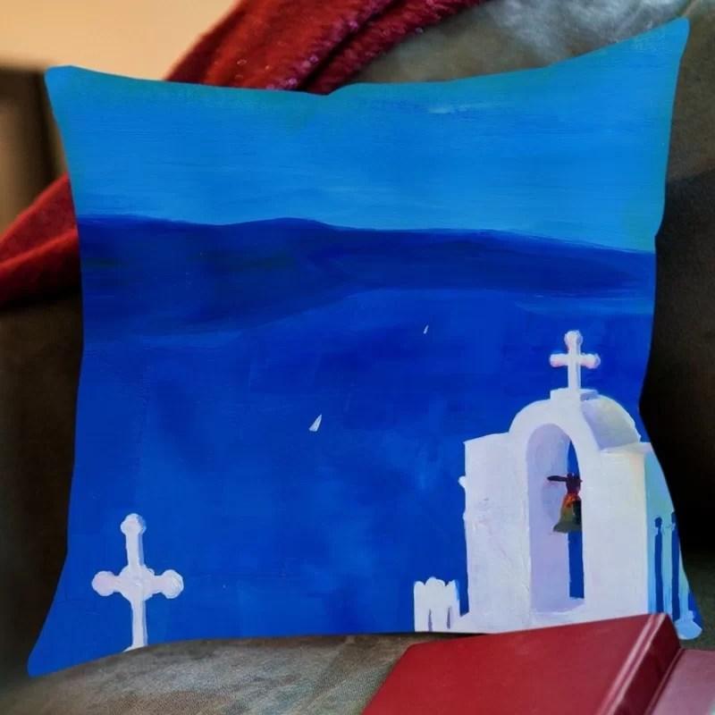 Markus Bleichner Veras Enchanting Santorini Greece View Throw Pillow Size: 18 H x 18 W x 2 D