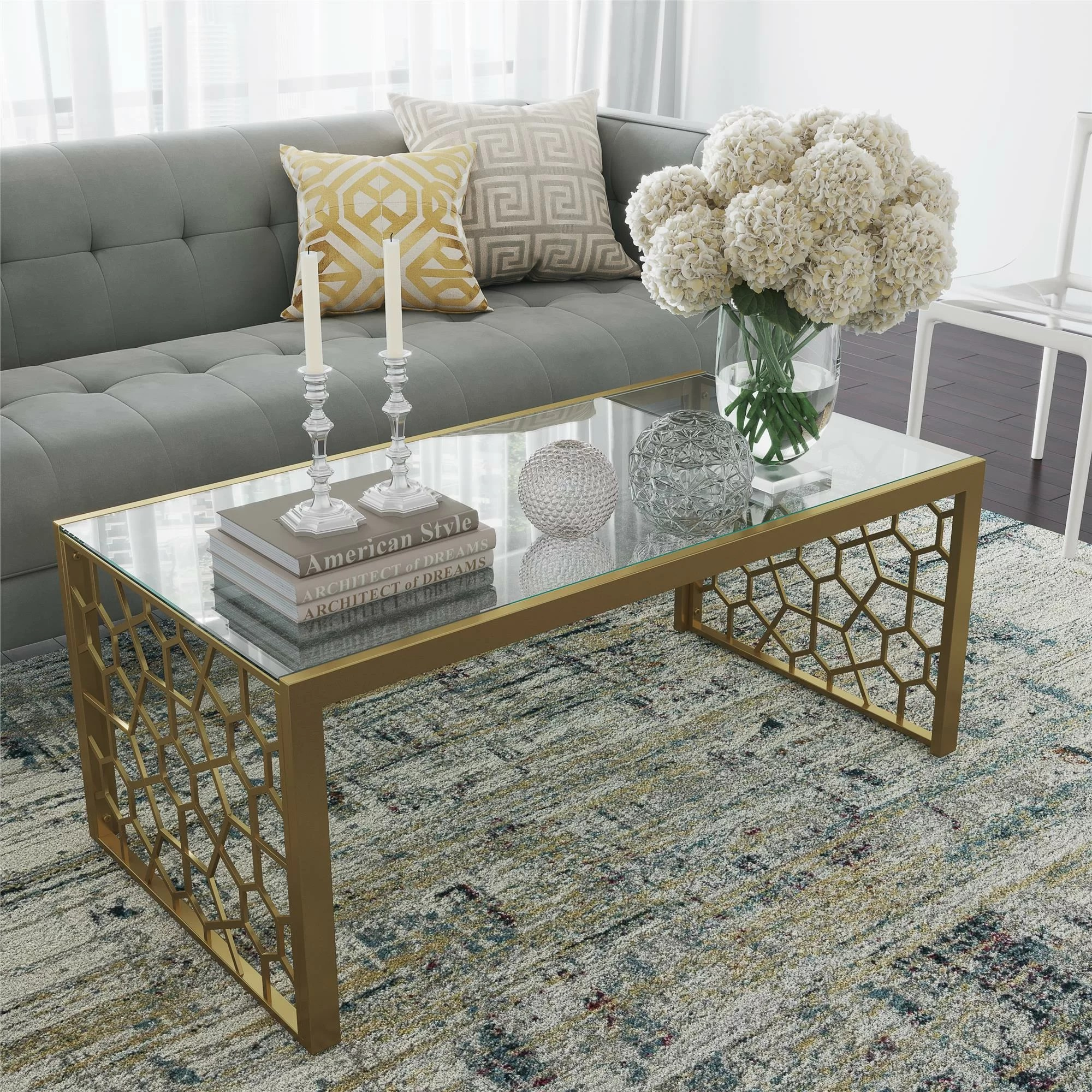 gold rectangle coffee tables you ll