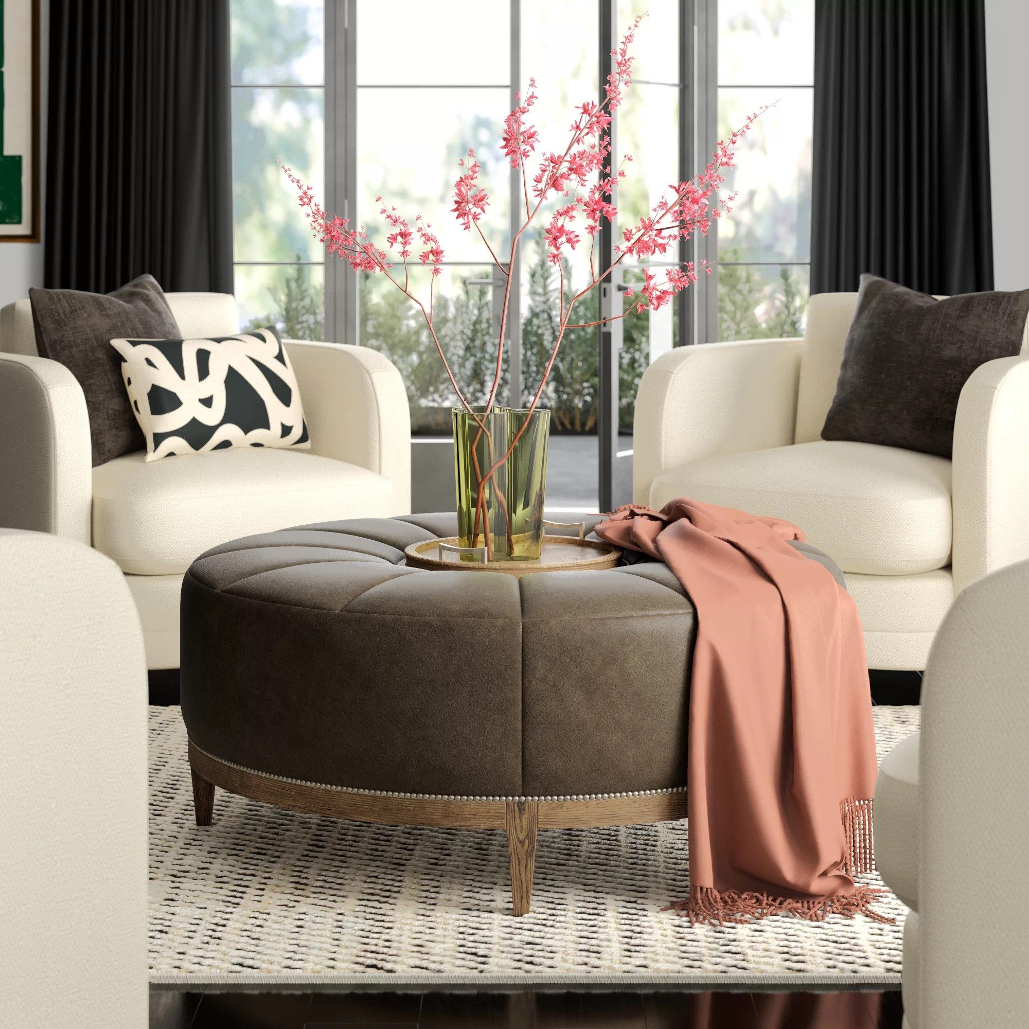 chasen 45 5 genuine leather tufted round cocktail ottoman