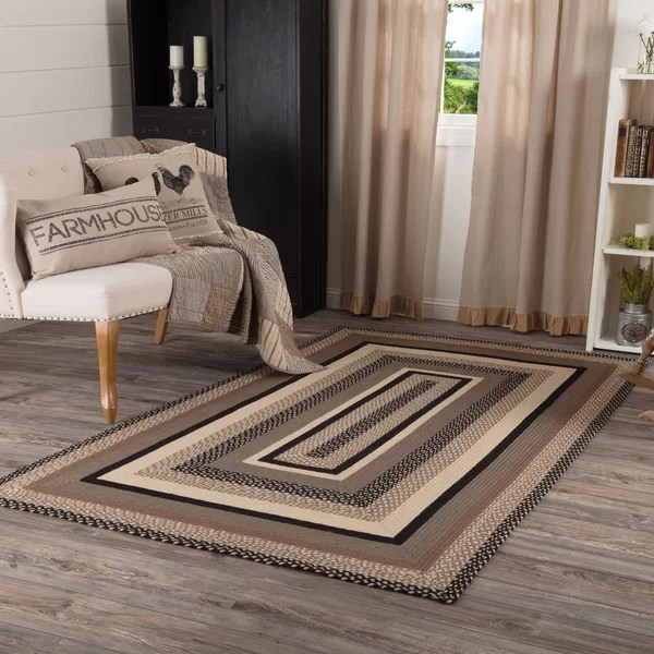 taupe and black area rug