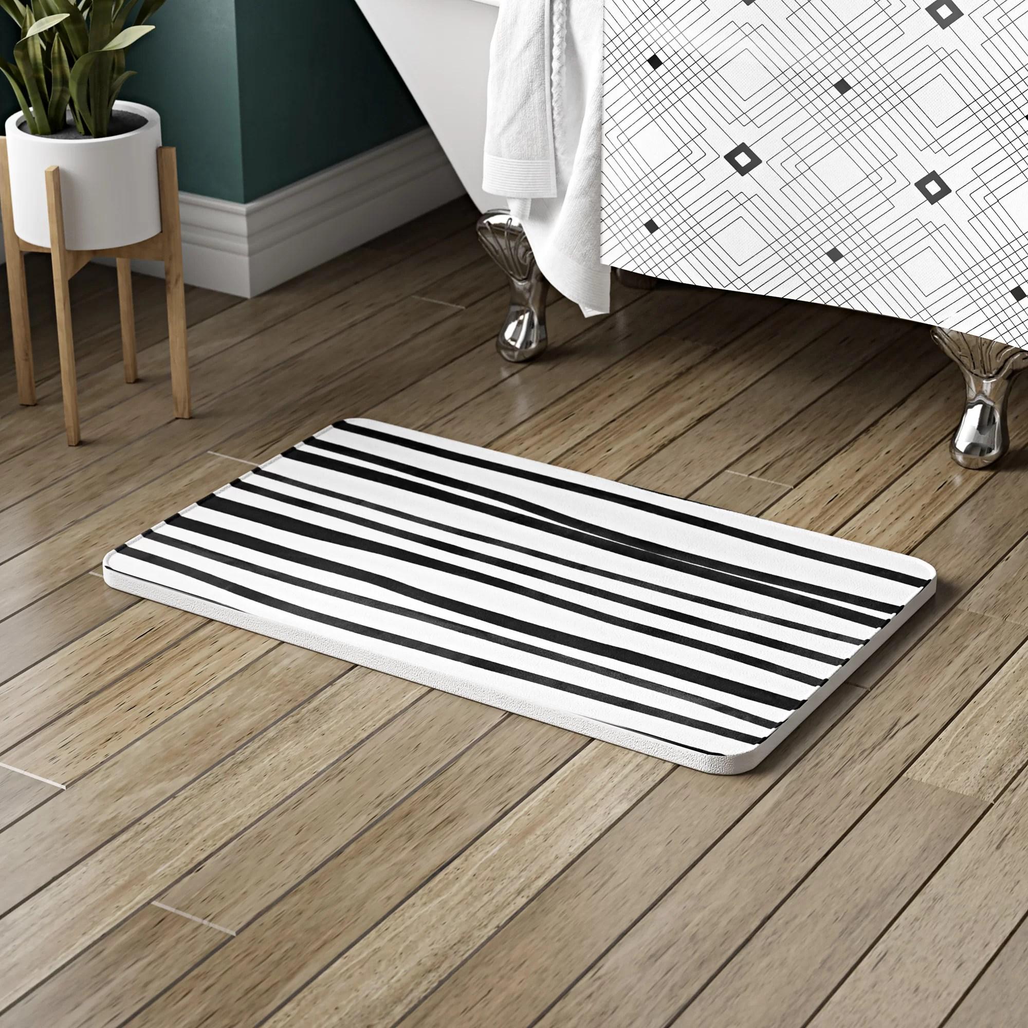 Ivy Bronx Bretz Stripes Rectangle Non Slip Striped Bath Rug