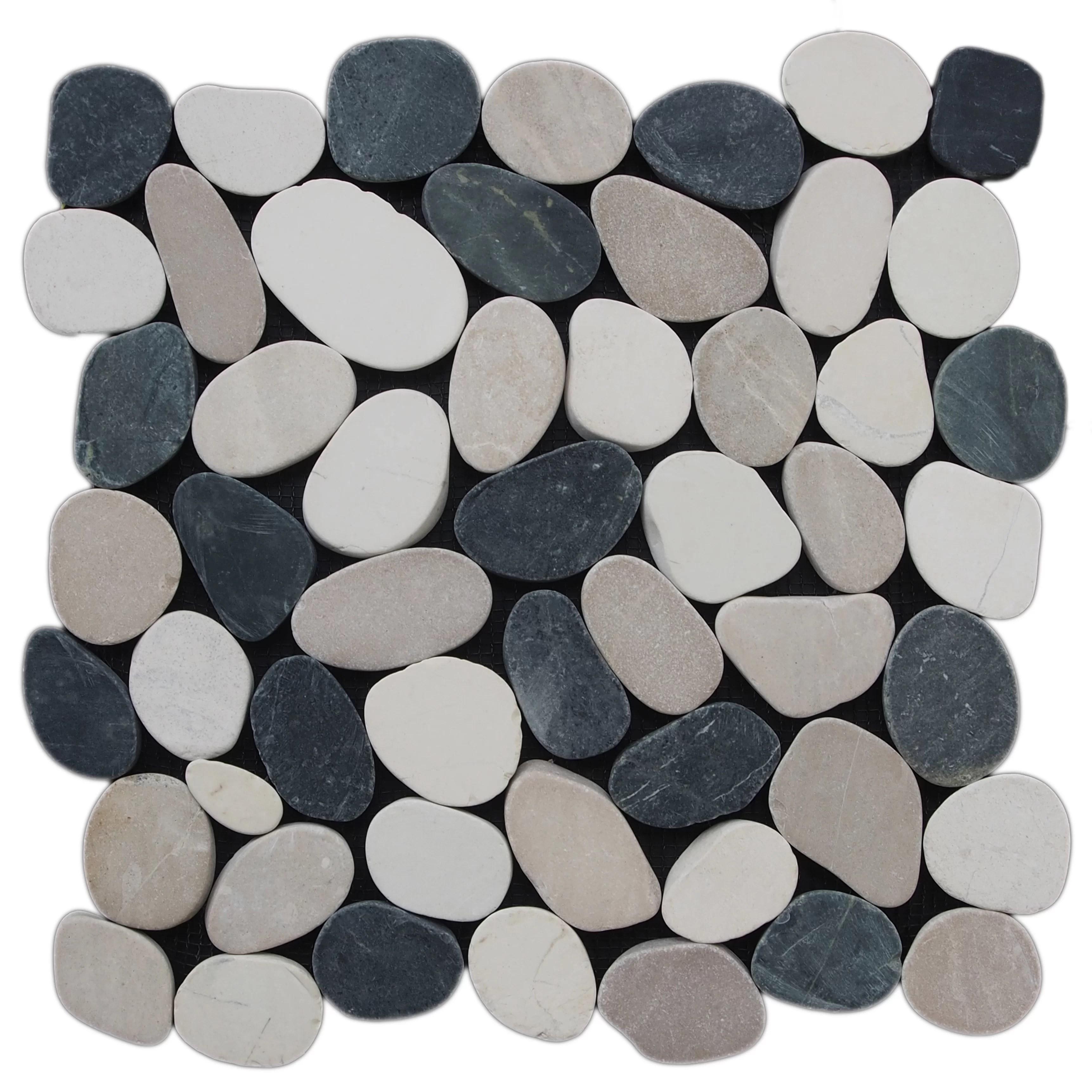 random sized natural stone pebble mosaic wall floor tile