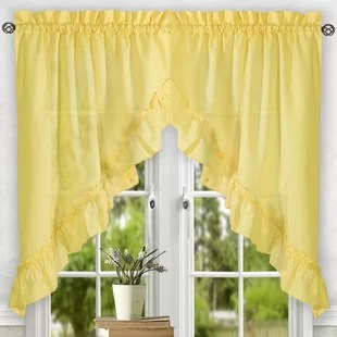 swag curtains for kitchen modern bar stools yellow gold valances you ll love wayfair quickview