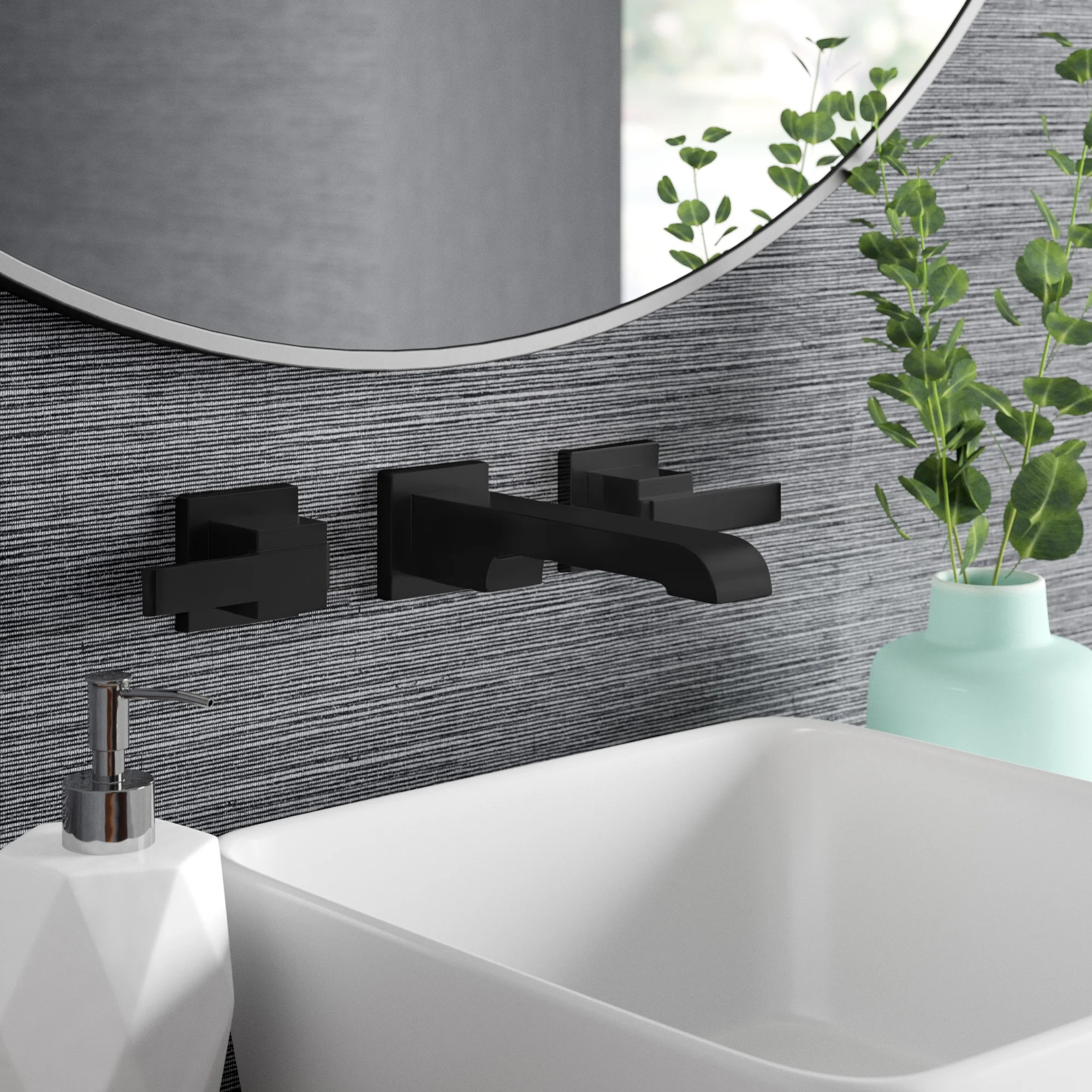 ara two handle wall mounted bathroom sink faucet