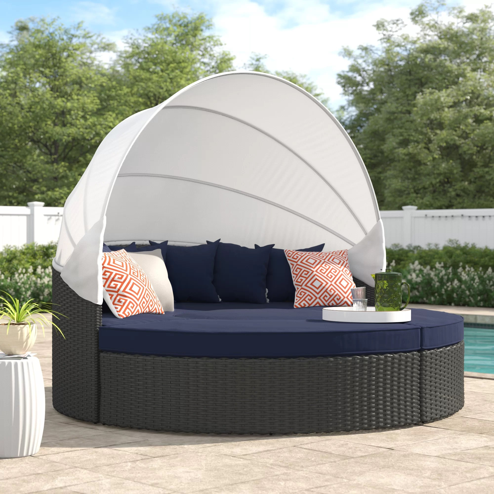 seats garden daybed for poolside brown