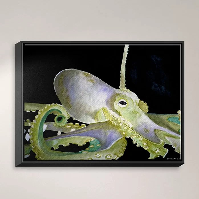 Deep Sea Life- Octopus by Marley Ungaro Painting Print on Wrapped Framed Canvas Size: 13.75 H x 17.75 W x 1.75 D Frame Color: Black