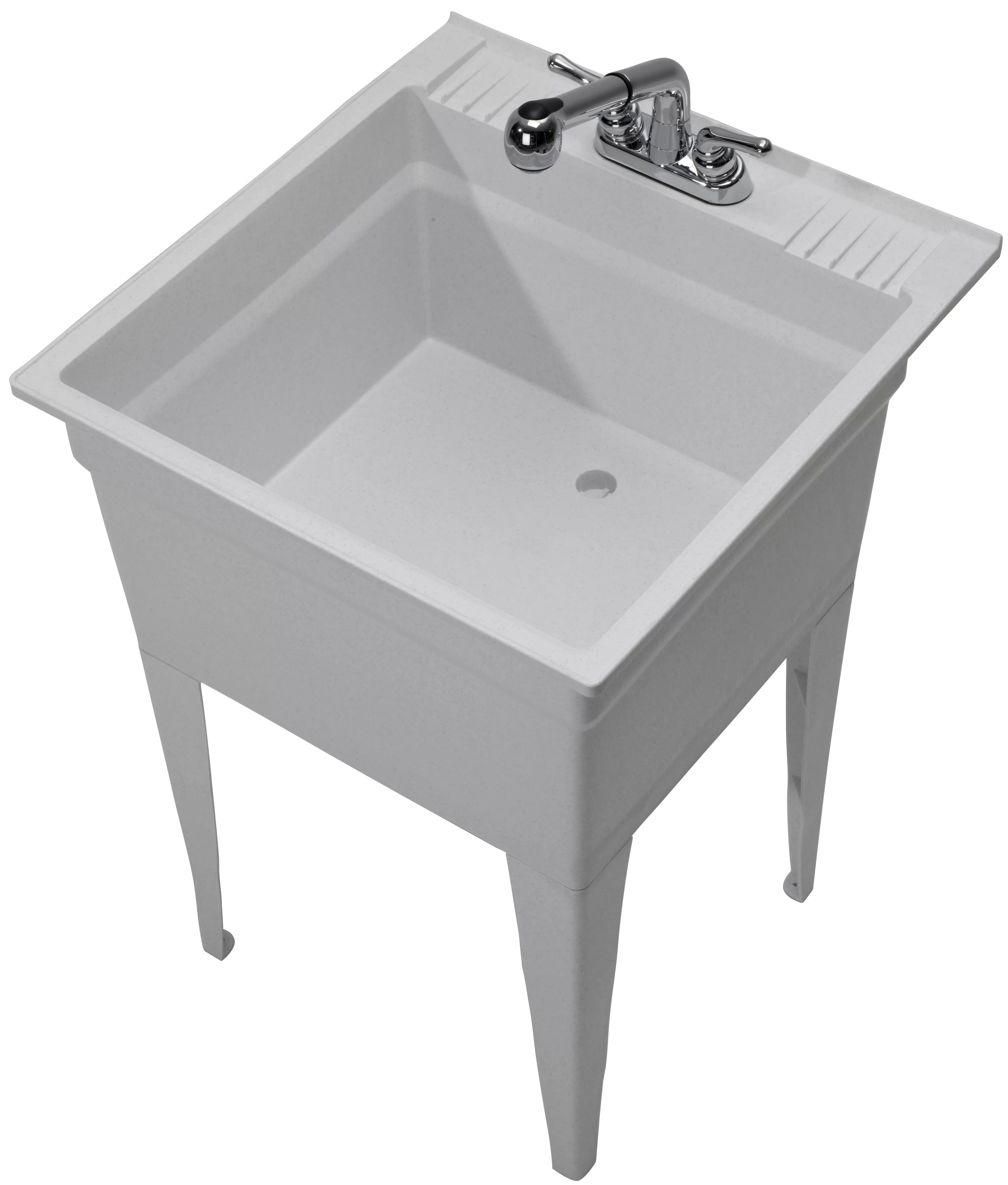 heavy duty 23 75 x 24 75 freestanding laundry sink with faucet