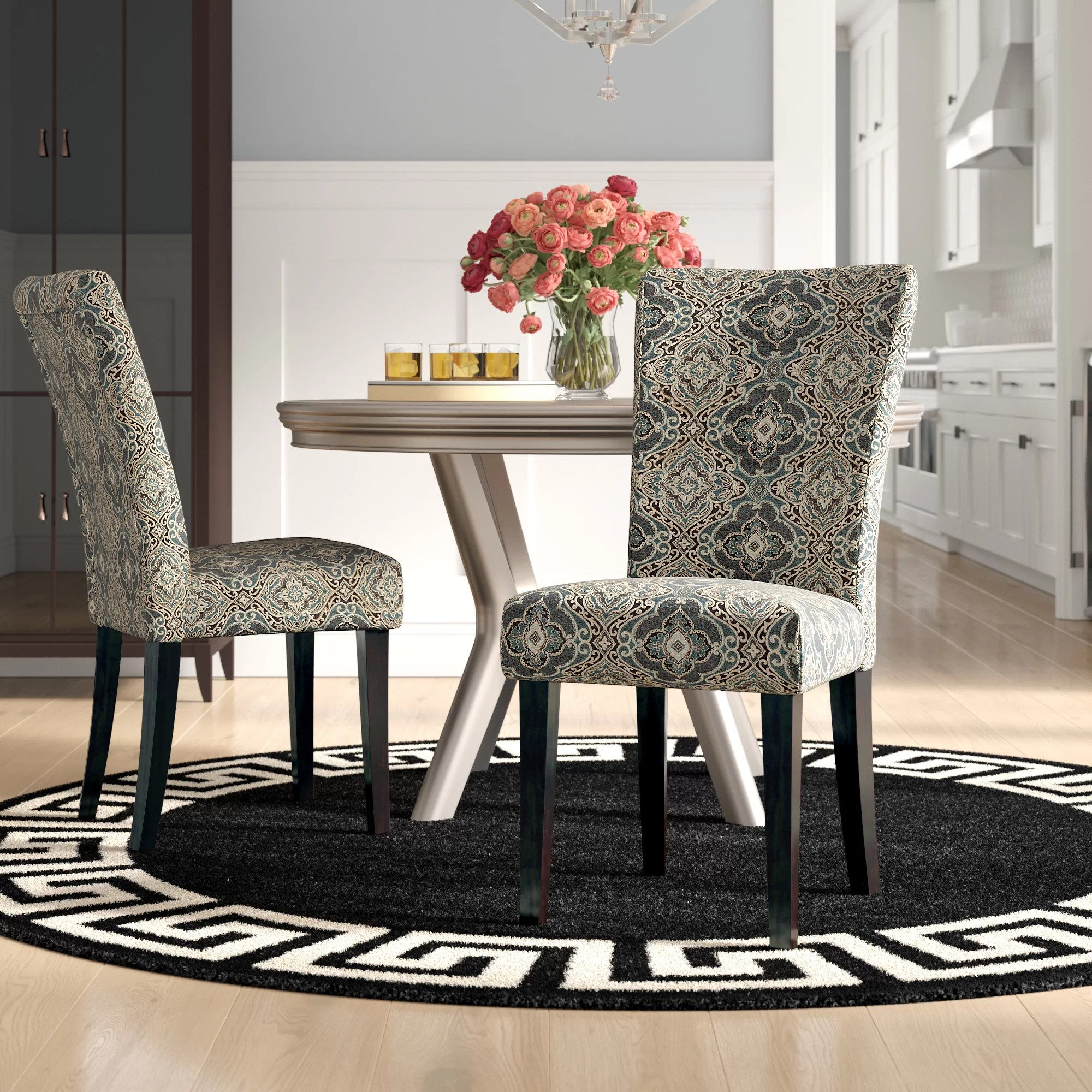 Damask Chair Sture Damask Upholstered Dining Chair