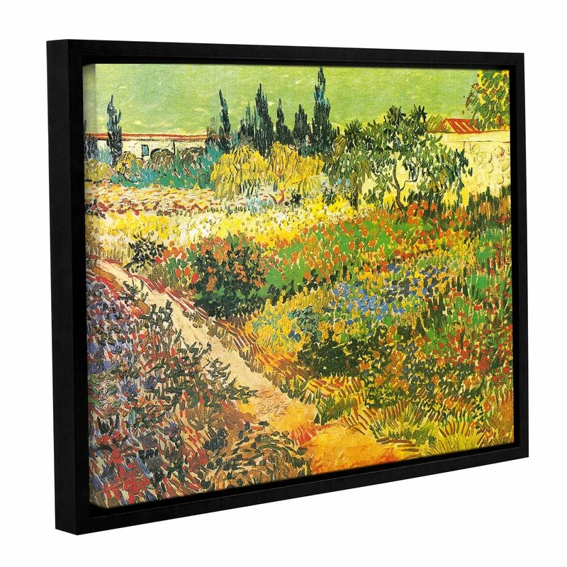 Flowering Garden by Vincent Van Gogh Framed Painting Print on Wrapped Canvas Size: 24 H x 32 W