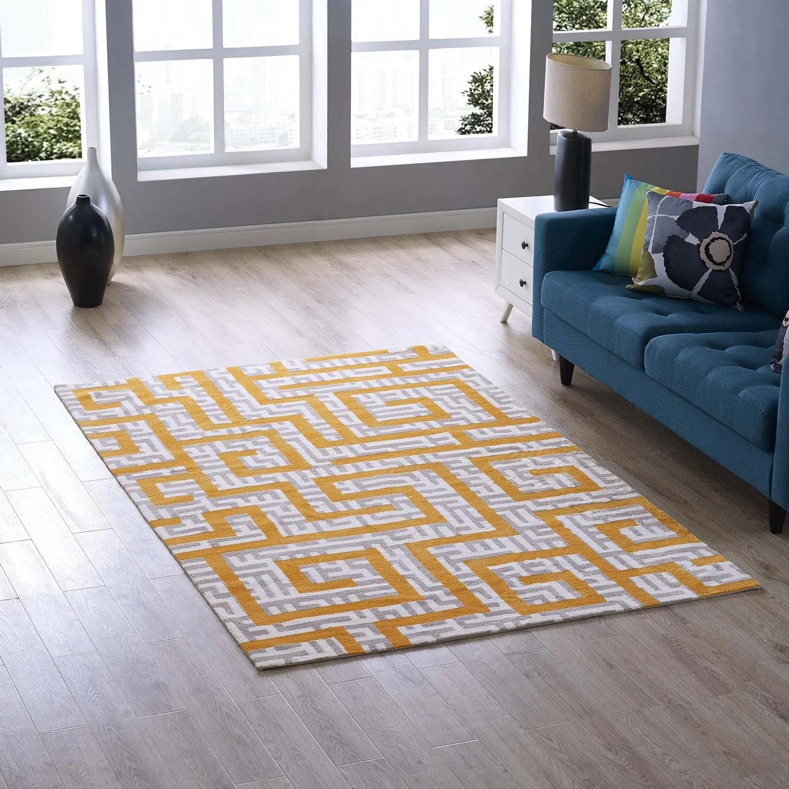 yellow area rug living room modern small ideas uk selvage geometric maze ivory light gray banana joss main