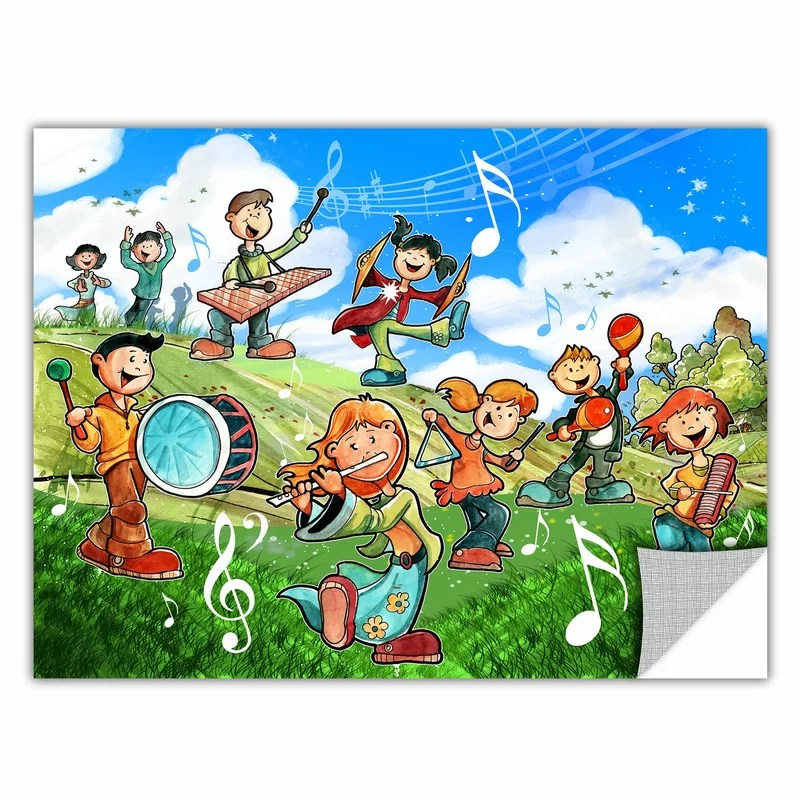 Music Kids by Luis Peres Graphic Art  Removable Wall Decal Size: 36 H x 48 W x 0.1 D