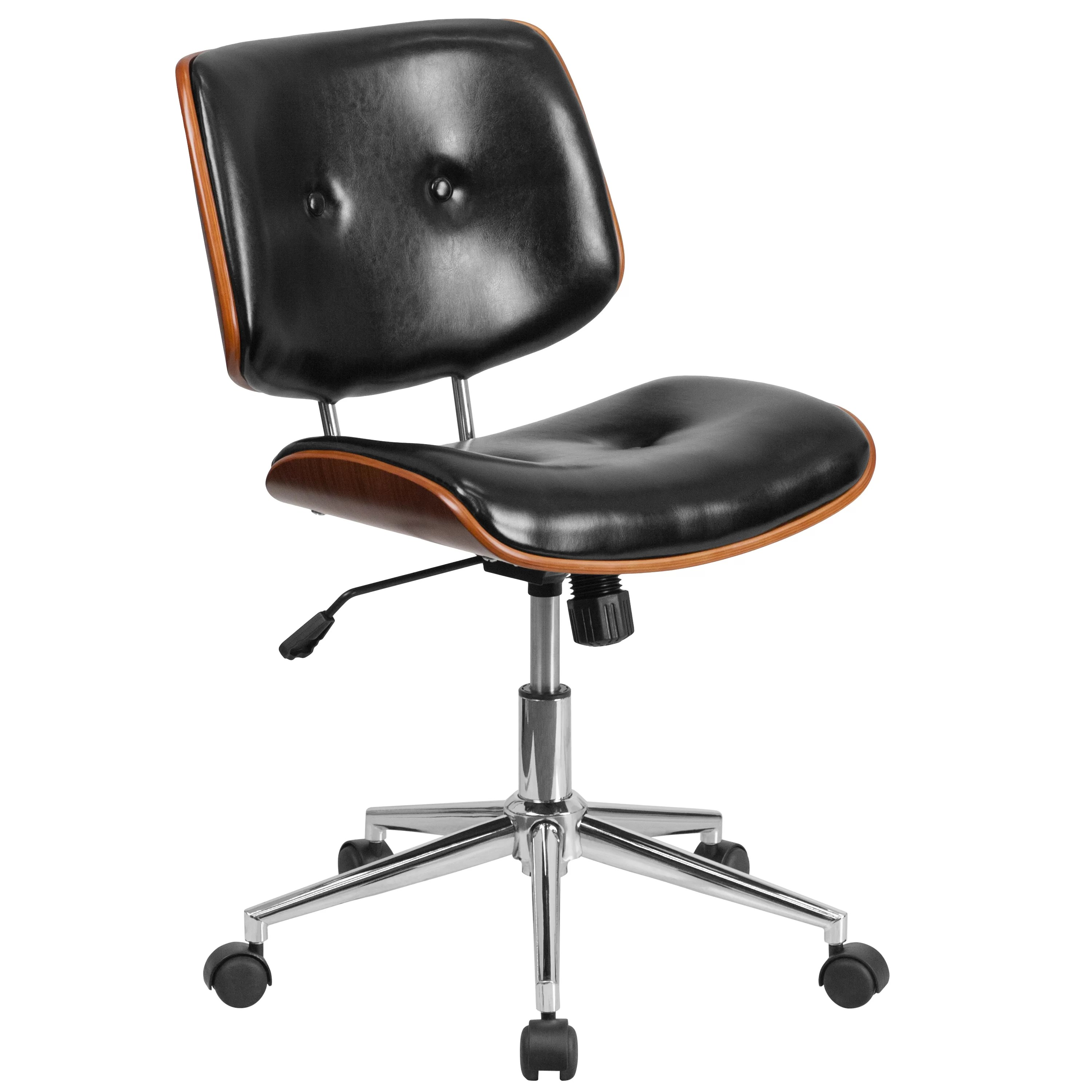 black leather desk chairs orange beach chair symple stuff wysocki mid back reviews wayfair