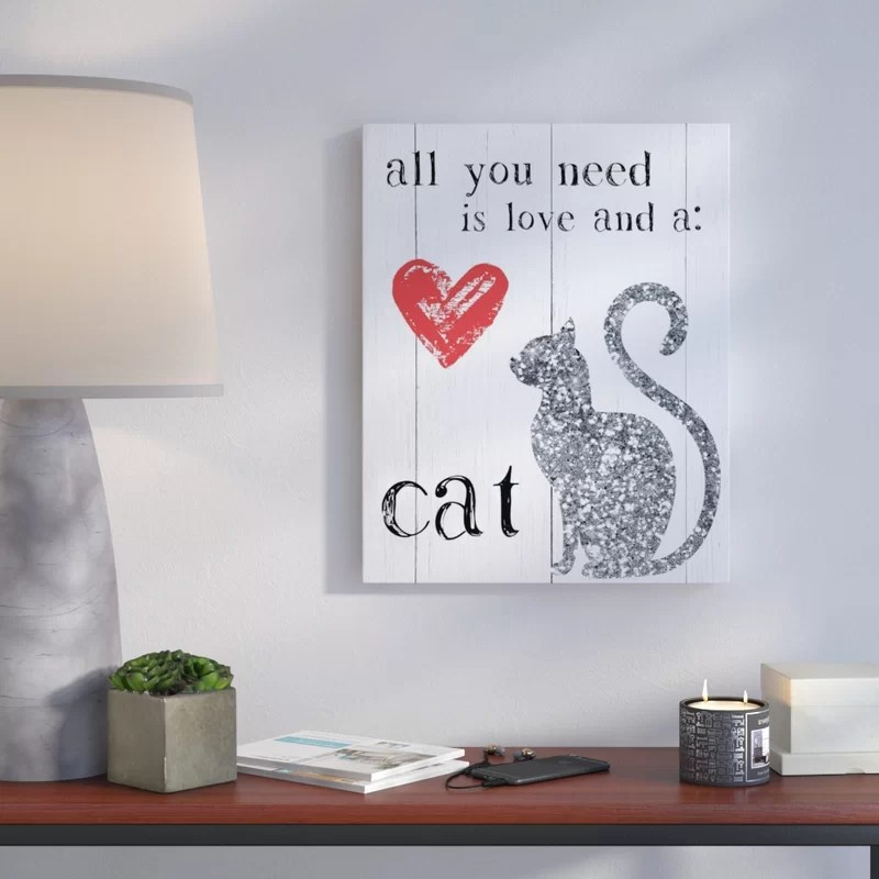 Love and a Cat Painting Print on Wrapped Canvas Size: 46 H x 36 W x 1.5 D