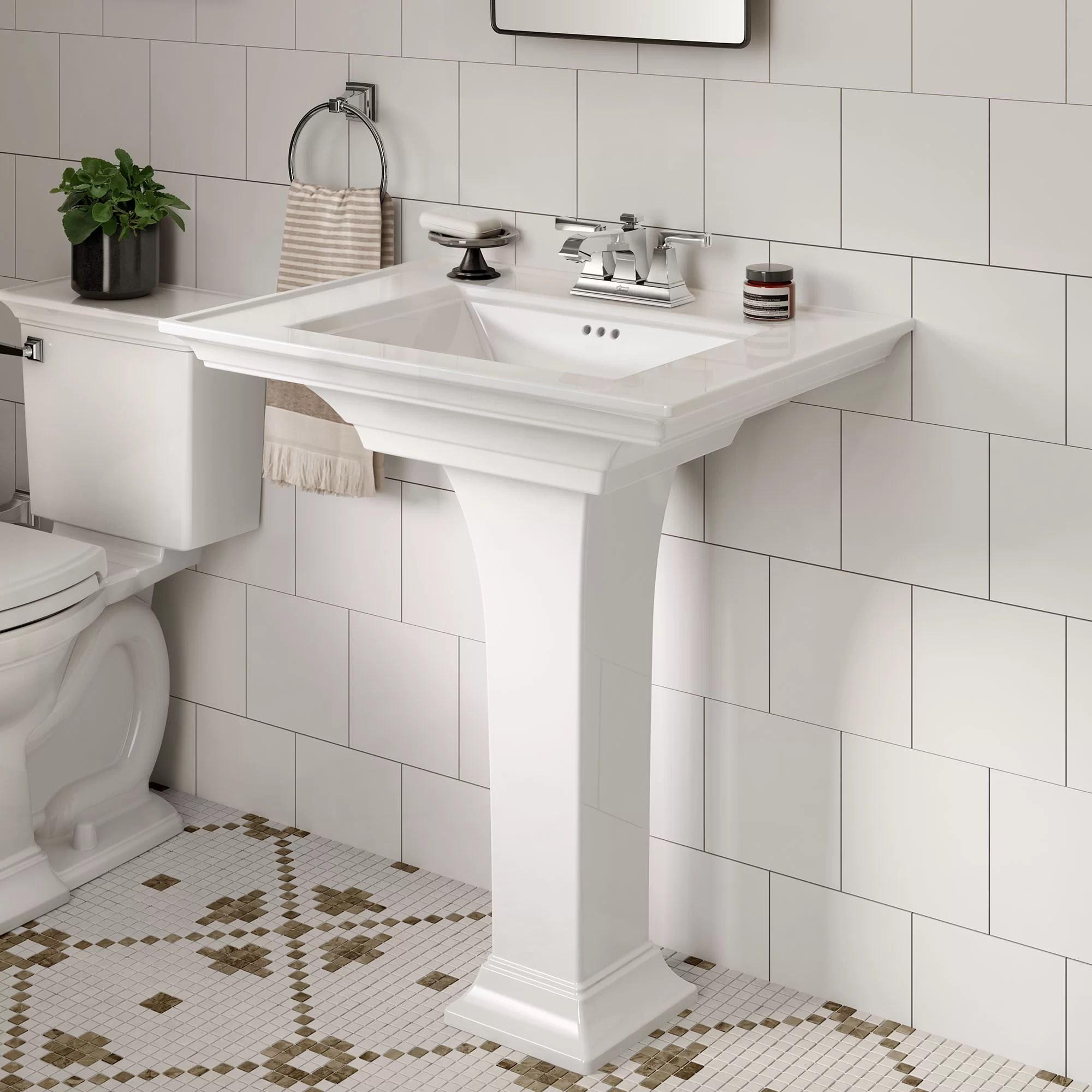 town white ceramic rectangular pedestal bathroom sink with overflow