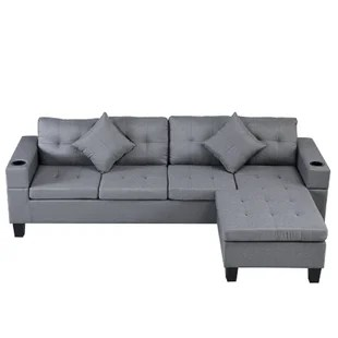 sectional sofa set for living room with l shape chaise lounge cup holder and left or right hand chaise modern 4 seat grey
