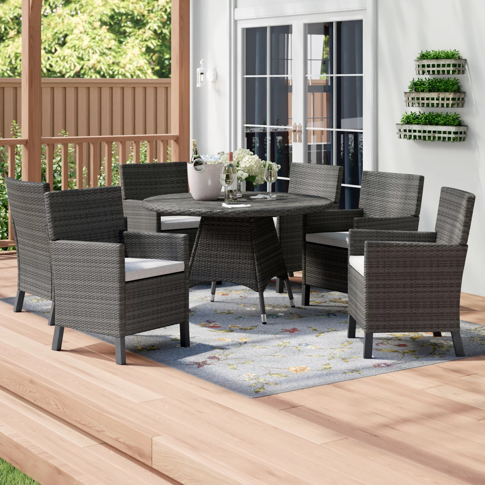 Outdoor Wicker Dining Chairs Argueta Outdoor Wicker 5 Piece Dining Set With Cushions