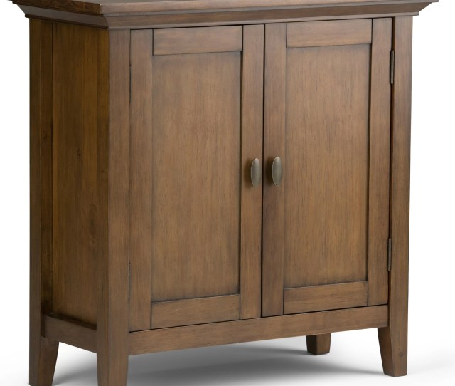 Simpli Home Redmond 2 Door Low Storage Accent Cabinet Reviews Wayfair