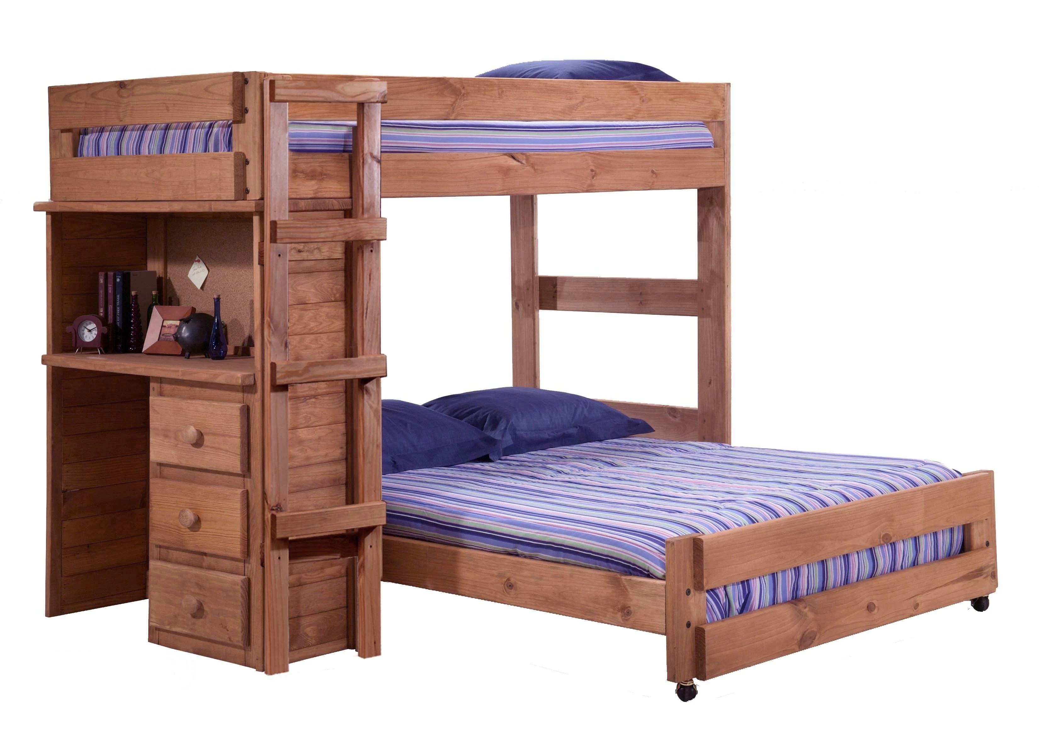 chumbley twin over full l shaped bunk bed with desk