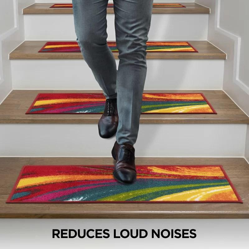 Ebern Designs Kamath Multi Color Stair Tread Reviews Wayfair | Multi Coloured Stair Carpet | American Style | Candy Stripe | Interior Design | Textured | Residence