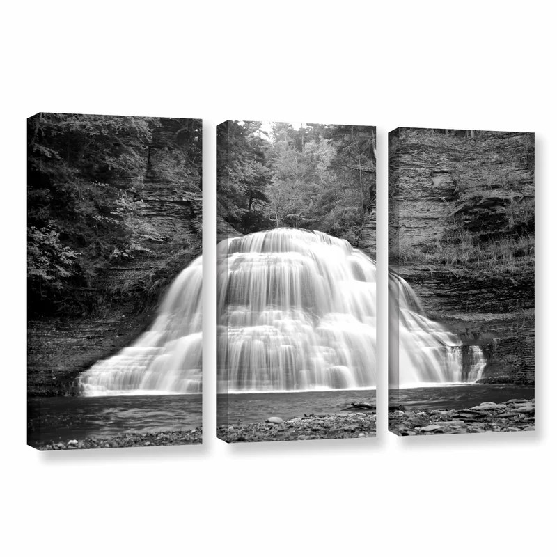 New York-Treman Falls by Dan Wilson 3 Piece Photographic Print on Wrapped Canvas Set