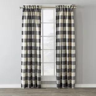 plaid semi sheer rod pocket single curtain panel