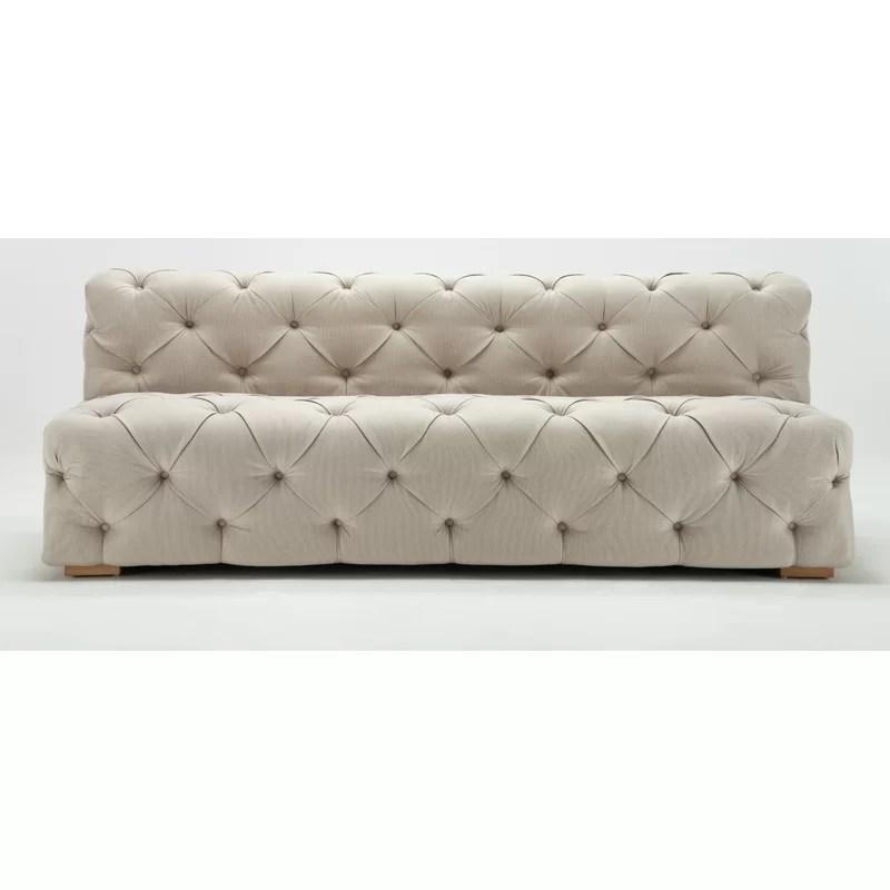 armless sofas tan leather sofa sets rosdorf park pratt tufted wayfair