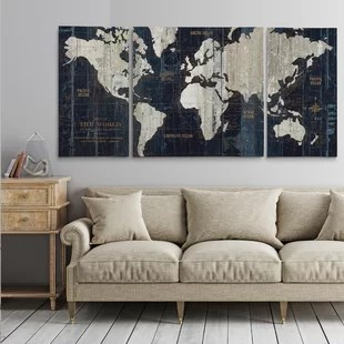 cheap wall art for living room chocolate brown oversized you ll love wayfair old world map blue framed graphic print on wrapped canvas set of 3