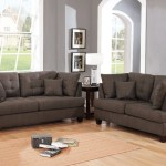 Latitude Run 2 Piece Linen Like Fabric Sofa Set Black Coffee
