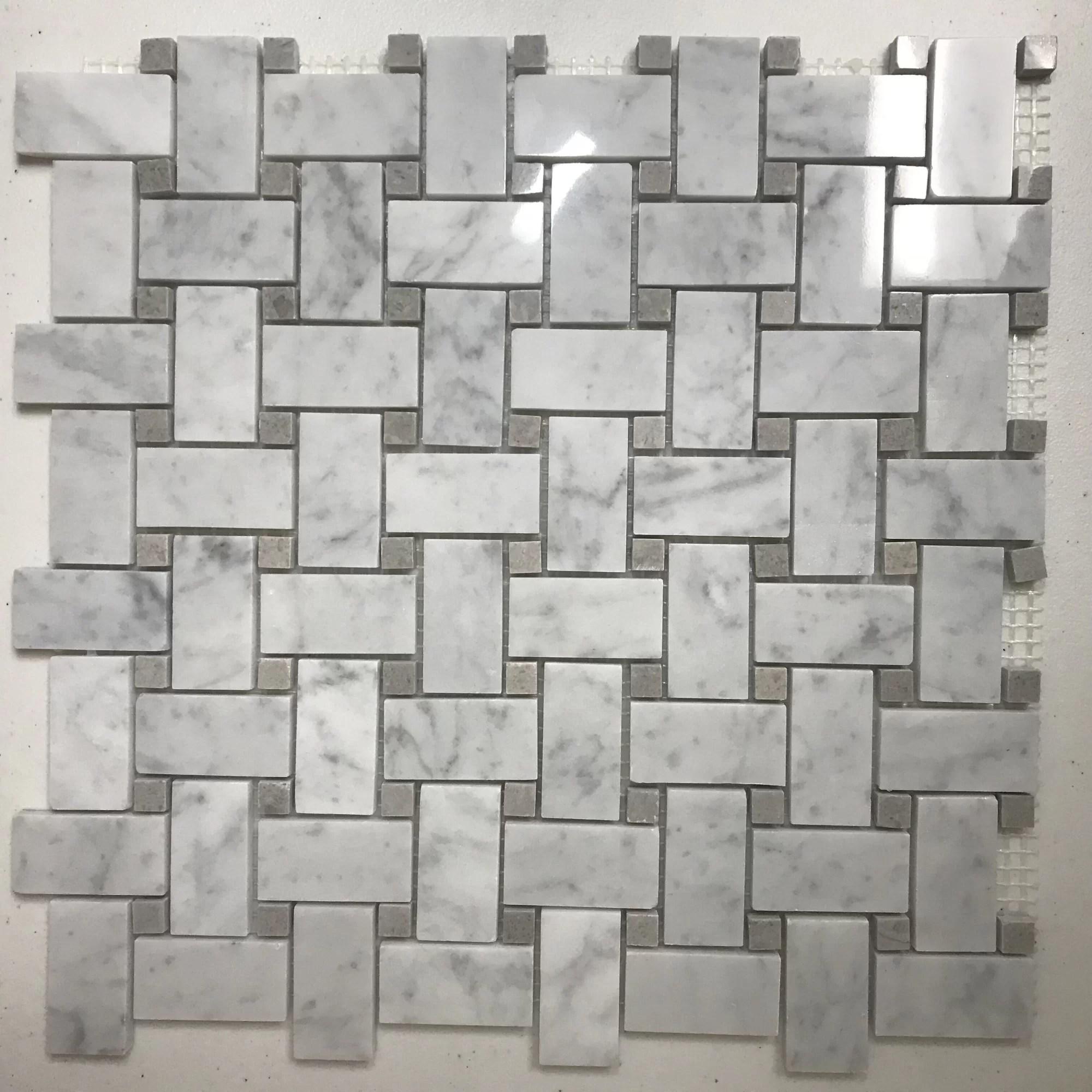 marble basketweave mosaic subway wall floor tile